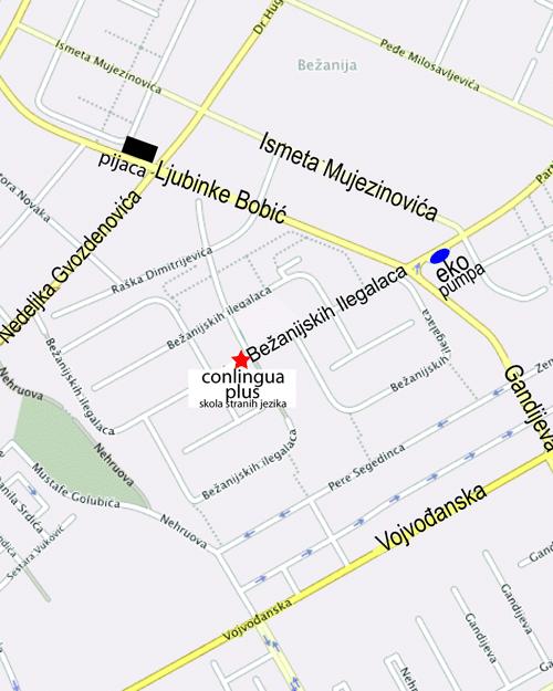 bezanijska kosa mapa Kontakt i lokacija škole stranih jezika Conlingua Plus   Beograd bezanijska kosa mapa