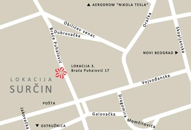 surcin mapa Kontakt i lokacija škole stranih jezika Conlingua Plus   Beograd surcin mapa